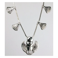 Egyptian scarab and lotus blossom necklace, sterling silver