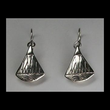 Egyptian style lotus blossom dangle earrings, sterling silver