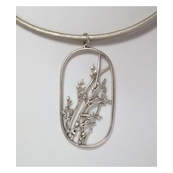 Pussy willow pendant, sterling silver and leather