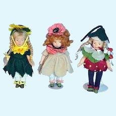 Limited Edition Jointed Bisque Artist 'VM' Flower Dolls