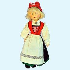 "Rare Vintage 1936/37 16"" Ronnaug Petterssen Hardanger Original Tagged Girl Doll"