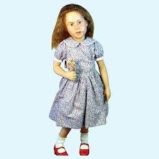 "RARE OOAK Artist Carol Trobe 21"" Girl in Violet Dress & Red Shoes Doll 1992"