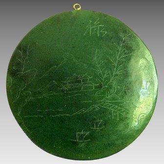 Amazing Vintage Chinese Heavy Nephrite Jade Pendant 64.9 g 324.5 Carats