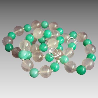 """Fabulous Sterling Rose and Jade Green Quartz Beads Necklace 19 1/2"""""""