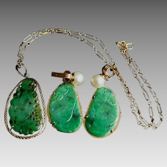 ONE OF A KIND  14K Chinese Antique Carved Jadeite Jade Necklace & Earrings SET