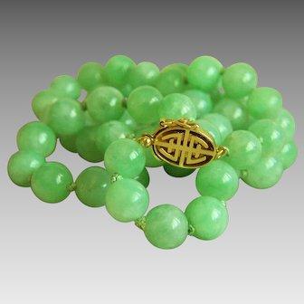 """Stunning Vintage GUMPS GUMP'S 14K natural jadeite jade necklace 22 1/4"""" 59.8 g"""