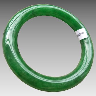 Estate Certified Chinese Jadeite Jade Bangle Bracelet 58.4 mm 71.9 g