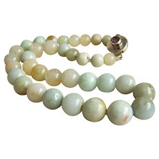 ONE OF A KIND Fabulous Vintage Natural GRADE A Jadeite Jade Necklace 16 1/2""
