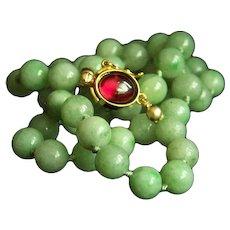 "Exquisite Vintage Jadeite Jade Garnet Sterling Silver Necklace 18"" 46.1 g"