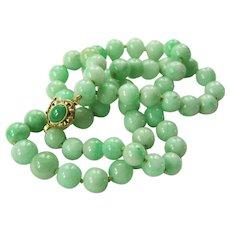 """Stunning Estate 14K Jadeite Jade Necklace 23"""" 64.4 g"""