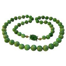 "Estate Vintage Jadeite Jade Bead Necklace with 14K Carved Jade Clasp 124.3 g 27.5"""