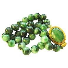 """Estate Vintage Large Mottling Green Jadeite Jade Bead Necklace 28 1/2""""  176 g"""