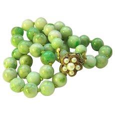 "Estate Vintage Natural Jadeite jade bead 14K Pearl Clasp Necklace 21.5"" 72.5 g"