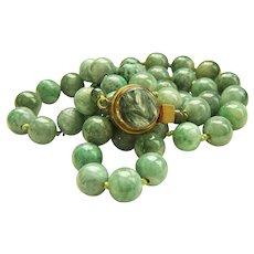 "Stunning Estate Large Heavy Natural Jadeite Jade Bead Necklace 28"" 184.7 g"