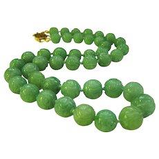 "Amazing 14K Estate Carved Jadeite Jade Necklace 20 3/4""  95 g"
