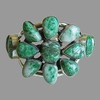 Amazing Rare Estate Heavy Sterling Jadeite Jade Cabochons Cuff Bracelet 74.5 g