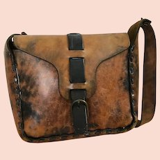 RARE Vintage Hand Made American All Leather Shoulder Bag - REDUCED