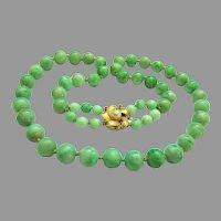"Exquisite Estate Large Heavy Natural Jadeite Jade 14K Designer Signed Pearl Ruby Clasp Necklace 25""  133 g"