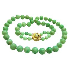 "Exquisite Estate Large Heavy Natural Jadeite Jade 14K Designer Signed Pearl Ruby Clasp Necklace 25""  133 g"