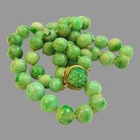 "Exquisite Estate Vintage Jadeite Jade 14K Clasp Necklace 121.1 g   26 1/2"""