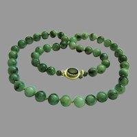 "Amazing Estate Large Natural Jadeite Jade Beads Sterling Silver Necklace 173.3 g  28 1/2"""
