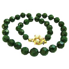 """Extremely Rare Estate Inky Green Faceted Jadeite Jade Beads Designer Signed 14K Ruby Pearl Clasp Necklace 106.5 g   21"""""""