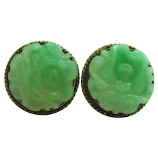 Vintage Estate Sterling Carved Jadeite Jade Pierced Earrings 5.3 g