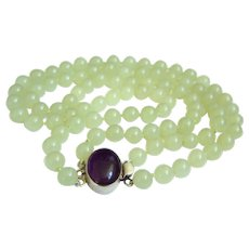 """Exquisite Estate Chinese Hetian Mutton Fat Nephrite Jade Double Strands necklace with Large Sterling Silver Amethyst Clasp 114.3 g -  17.5"""" & 19"""""""
