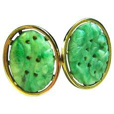 Vintage Designer Anson Large Natural Carved Jadeite Jade Cufflinks 11.4 g