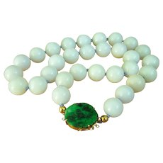 """Amazing Very Large Lavender Jadeite Jade Beads 14K Green Carved Jadeite Jade Clasp Necklace 231.4 g Heavy 23"""" Extremely RARE"""