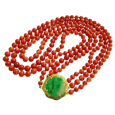 """Exquisite Vintage 3 Strand Natural Salmon Red Coral Beads and 14K Green Jadeite Jade Clasp Necklace 60.1 g; 17 1/2"""" to 19 1/2"""""""