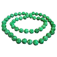 """ONE OF A KIND - GIA Certified Vintage Chinese Carved Vibrant Mottling Green Jadeite Jade Bead Necklace 146.1 g; 29"""""""