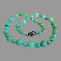 "Amazing Estate Vintage Jadeite Jade Sterling Silver Necklace 80.7 g;  19 1/4"""