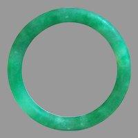 Vintage Estate Large Mottling Green Jadeite Jade Classical Round Band Bangle Bracelet 58.6 g; 64.5 mm