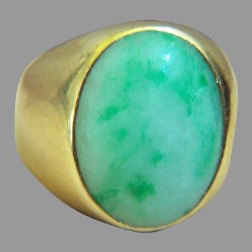 Extremely Rare Vintage 14K Mottling Green Jadeite Jade Ring Heavy 20.4 g Size 10 1/4