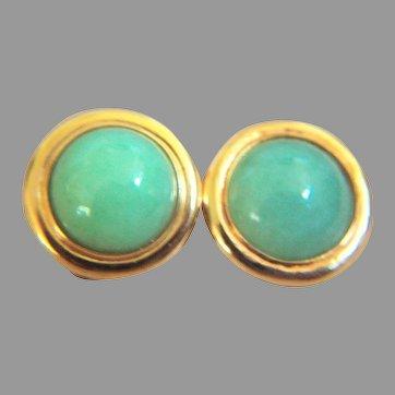 Vintage GUMP'S GUMPS GUMP 14K Clip On Jadeite Jade Earrings 8.6 g.