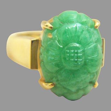 Exquisite 14K GUMPS GUMP'S Carved Jadeite Jade Ring 9.1 g, size 6 3/4