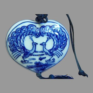Vintage Chinese Hand Painted Blue & White Double Peacocks Porcelain Waist Pendant Silk Toggle