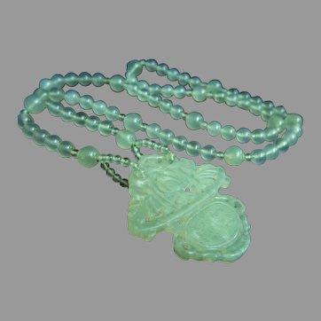 """Amazing Vintage Chinese Carved Celadon Light Green Translucent Carved Jade Basket Pendant Necklace 86.2 g  28"""""""