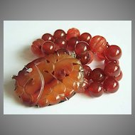 Chinese vintage sterling jade red carnelian necklace REDUCED