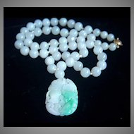 ONE OF A KIND - GUMPS GUMP'S 14K  Jadeite Jade Pendant Necklace in Box