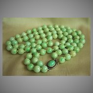 Estate Chinese 2 strands jadeite jade beads necklace with jade cabochon silver clasp