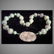 """50% OFF - Vintage Chinese Sterling Silver Jade & Carved Rose Quartz Necklace 17"""""""