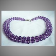 Amazing 14kt WG MING'S MINGS 2 strands sparkling faceted amethyst Beads necklace in original box