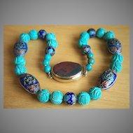 "Fabulous Vintage Chinese Turquoise Cloisonne Necklace 24"""