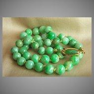 "ONE OF A KIND  14K vintage jadeite jade bead necklace 20.5"""