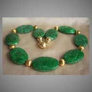 ONE OF A KIND Estate 14K Diamond Large Vivid Green Jadeite Jade Panel Necklace