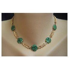"Fabulous Vintage 14K TIFFANY & CO Vintage Carved Jadeite Jade Necklace 15 3/4"""