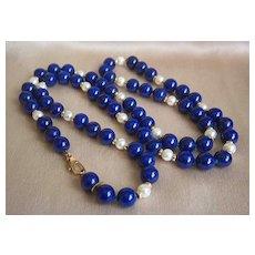 "Fabulous Authentic 14K TIFFANY & CO Lapis Lazuli Pearl Necklace 27 1/2"""