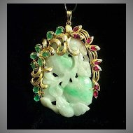 Magnificent Heirloom 14K Ruby Emerald Diamond Jade Pendant ... ONE OF A KIND